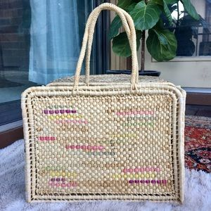 Vintage Rattan Straw Woven Tote Bag